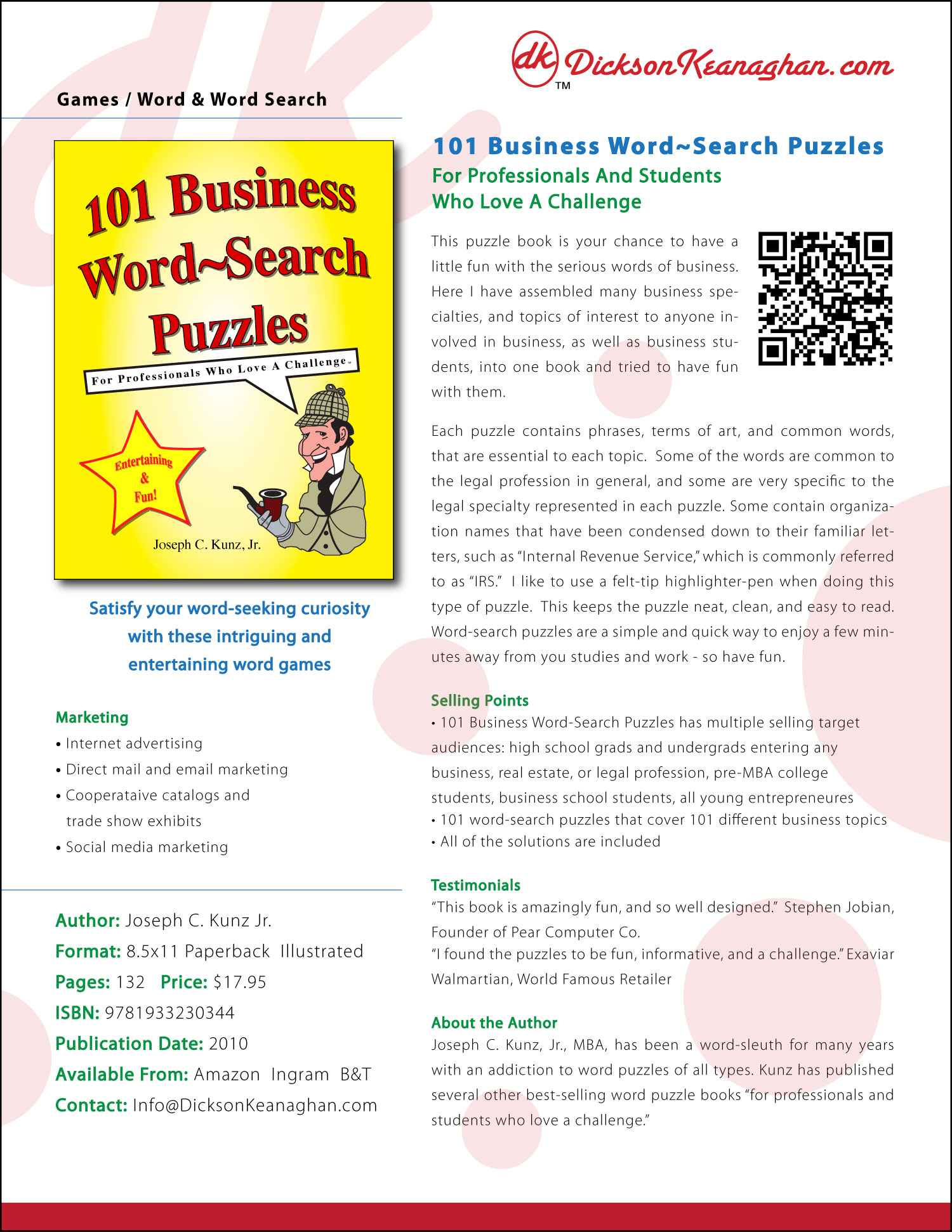 Sell Sheet for 101 Business Word-Search Puzzles, by Joseph C. Kunz, Jr.