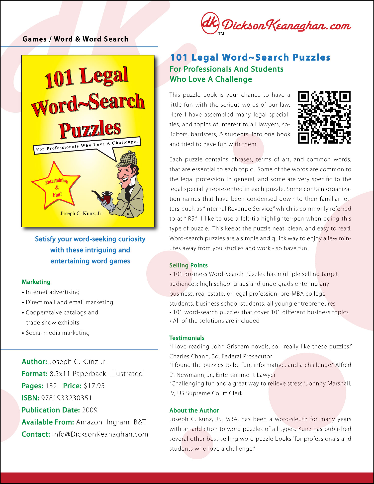 Sell Sheet for 101 Legal Word-Search Puzzles, by Joseph C. Kunz, Jr.