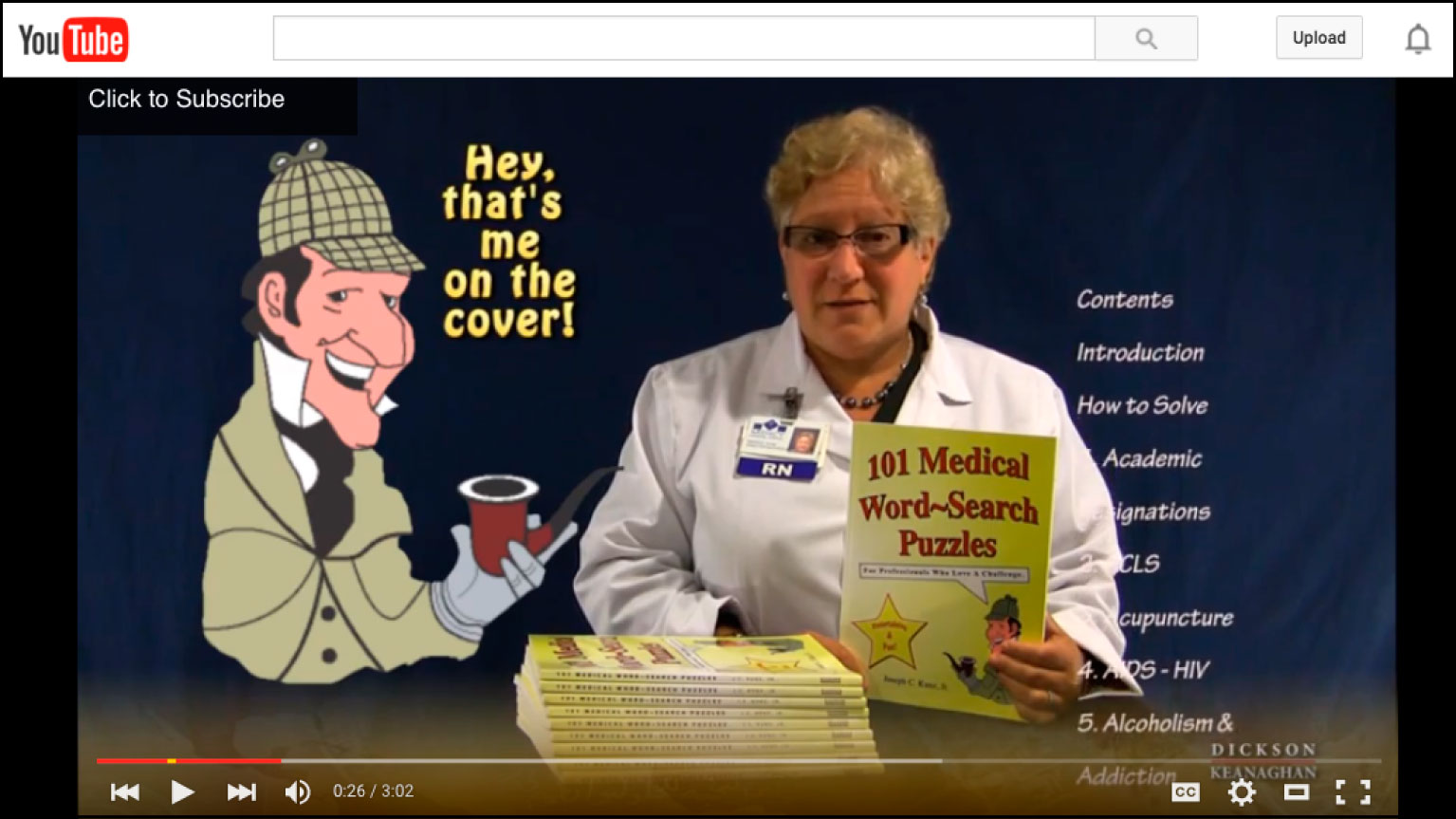 YouTube Video Of 101 Medical Word-Search Puzzles, by Joseph C. Kunz, Jr.