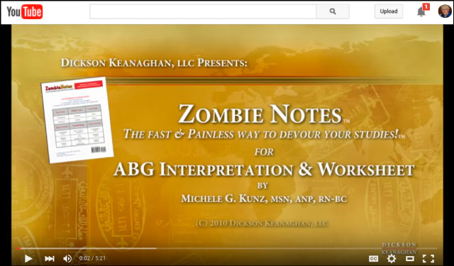 YouTube Video Of Zombie Notes ABG Interpretation and Worksheet Study Chart