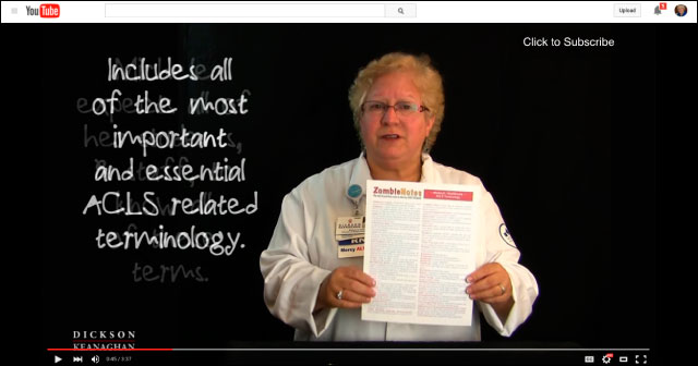 YouTube Video Of Zombie Notes Study Chart ACLS Terminology