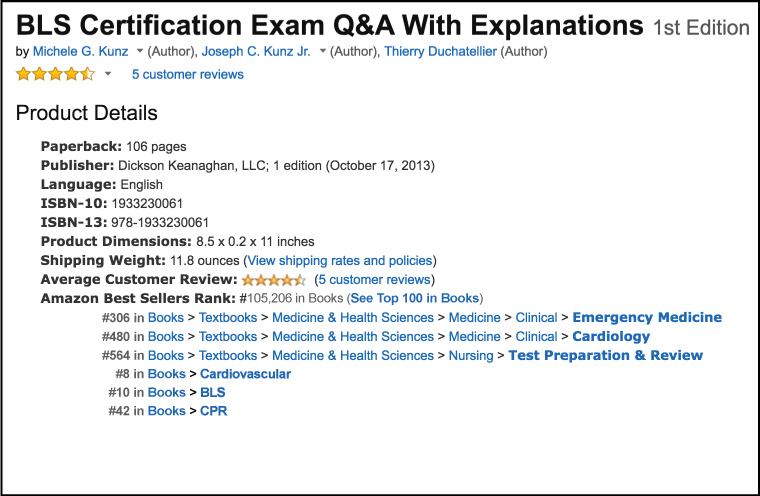 Amazon Product Details and Best Seller Rank for: BLS Certification Exam Q&A with Explanations