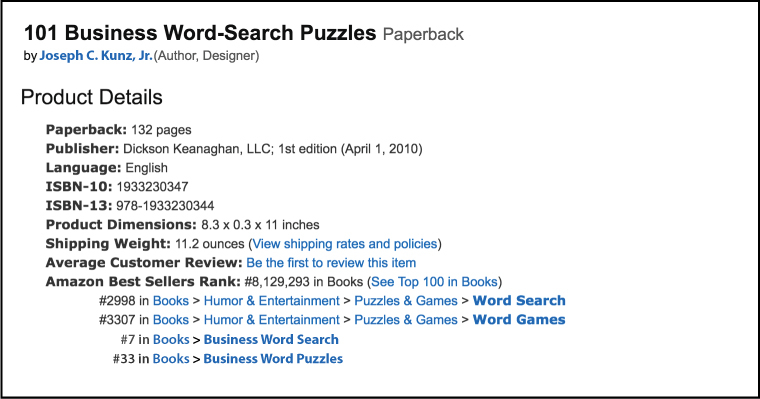 Amazon Product Details and Best Seller Rank for: 101 Business Word-Search Puzzles