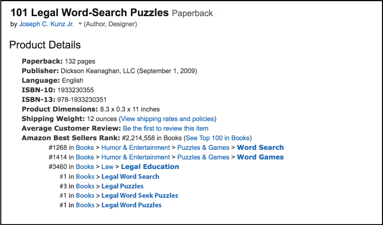 Amazon Product Details and Best Seller Rank for: 101 Legal Word-Search Puzzles