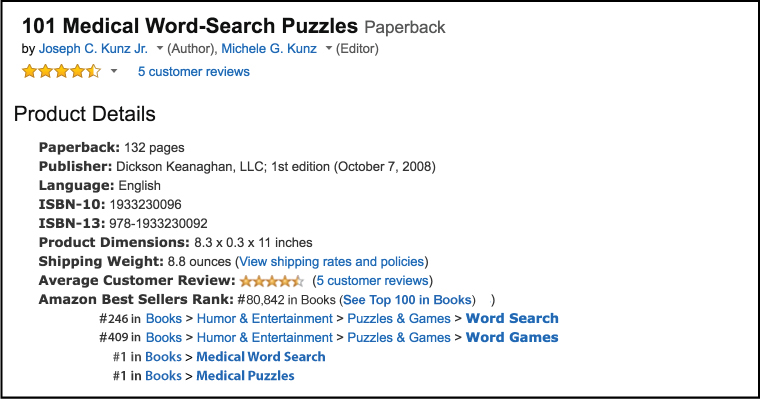 Amazon Product Details and Best Seller Rank for: 101 Medical Word-Search Puzzles