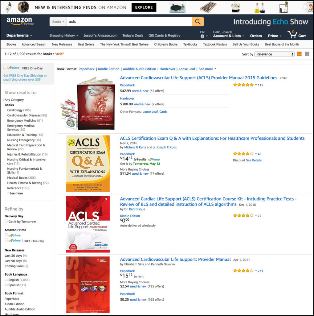 Amazon Best Seller Rank #2 In ACLS Category