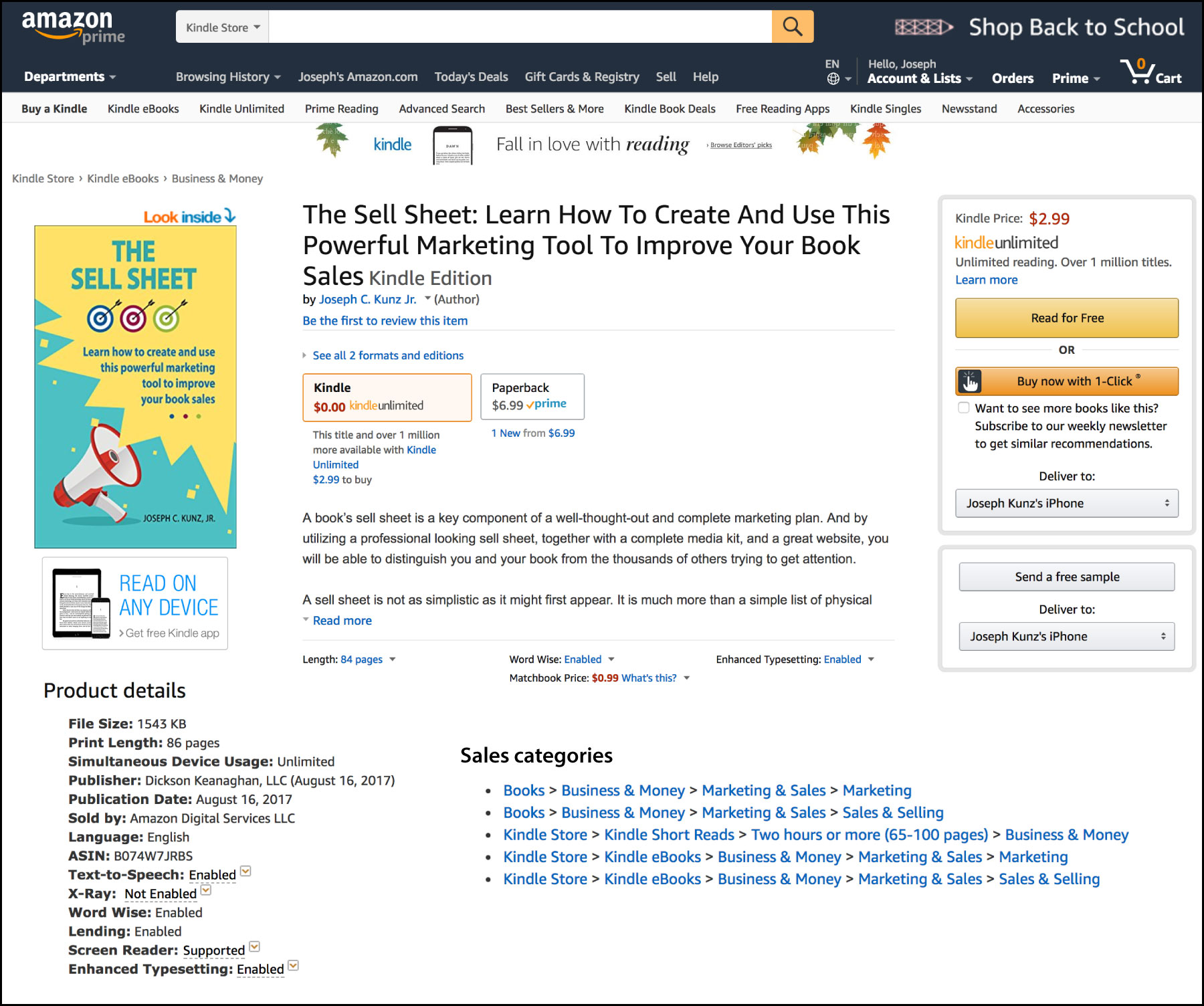 The Sell Sheet's Amazon Product Details Page
