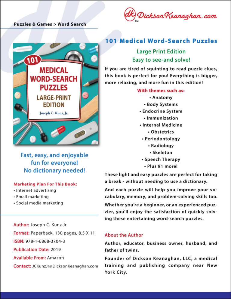 Sell Sheet For Medical Word Search Large Print Book 2019